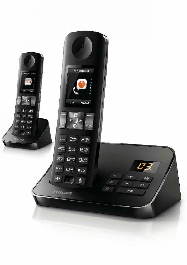 تلفن بی سیم منشی دار صفحه رنگی دو گوشی فیلیپس مدل D6052B-تصویر اصلی