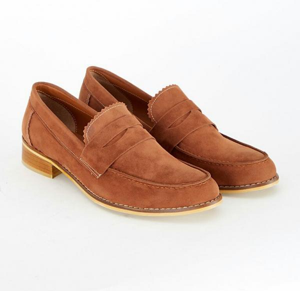 کفش تخت آکسفورد – لوفر زنانه شتری جیر راحتی MECREA 119832-تصویر اصلی