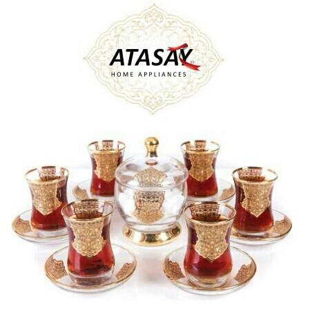 سرویس 14 پارچه چای خوری طلاکوب آتاسای-تصویر اصلی