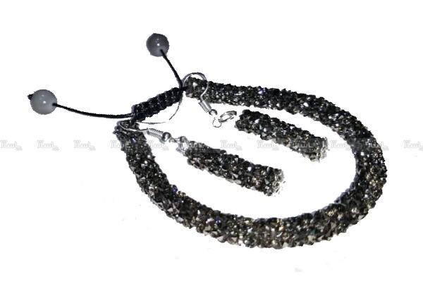 دستبند سوارسکی همراه ست گوشواره خاکستری-تصویر اصلی