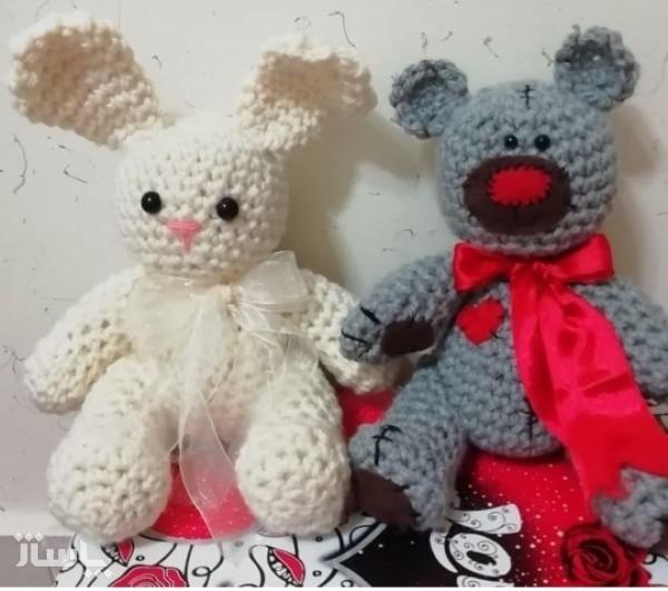 ست عروسک بافتنی خرس و خرگوش-تصویر اصلی