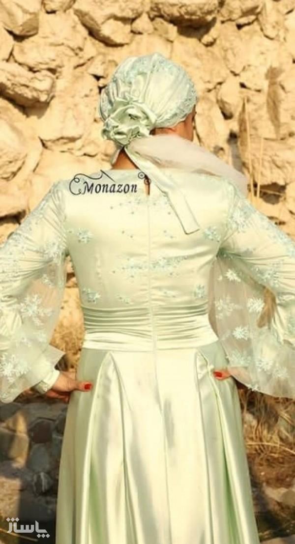 پیراهن ساتن سبزکوتاه-تصویر اصلی