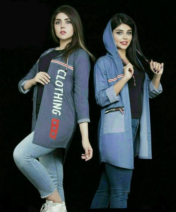 تونیک مانتویی کلاه دار جیب بغل طرح CLOTHING-تصویر اصلی