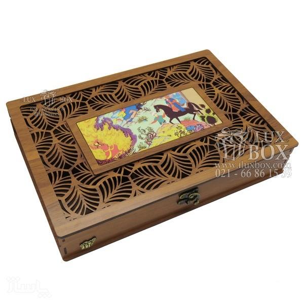 جعبه آجیل و خشکبار جعبه پذیرایی جعبه چوبی مدل شاه عباسی کد LB044-تصویر اصلی