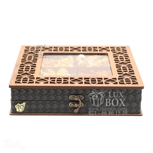 جعبه آجیل و خشکبار جعبه پذیرایی جعبه چوبی مدل چرم کد LB043-تصویر اصلی