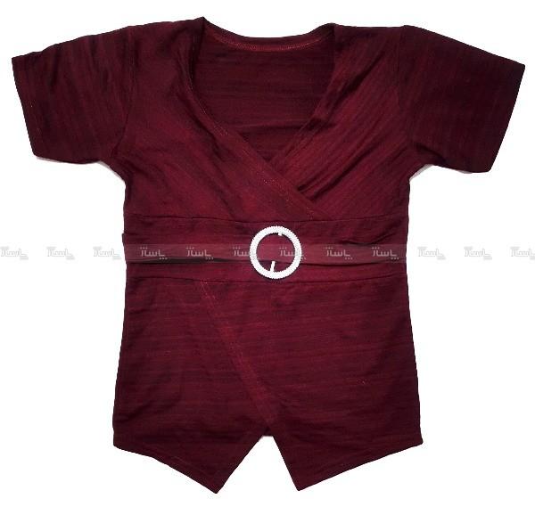 تی شرت زنانه ویسکوز با استایل کژوال مدل یقه چپ و راست-تصویر اصلی