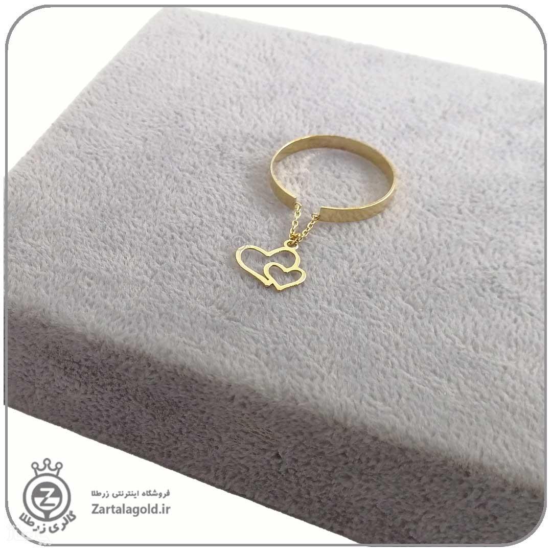 انگشتر طلا فری سایز با آویز دو قلب-تصویر اصلی
