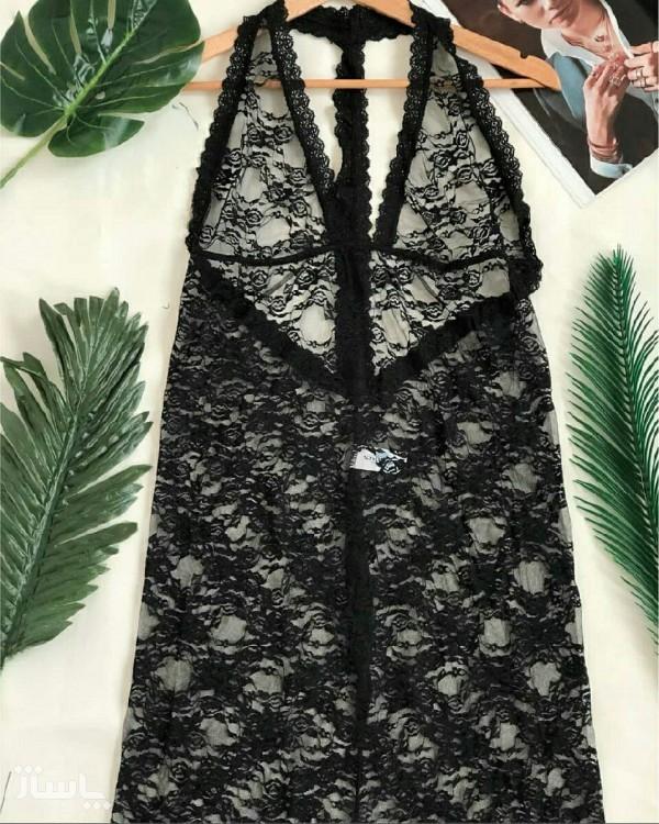 لباس خواب ماکسی گیپوری دنباله دار-تصویر اصلی