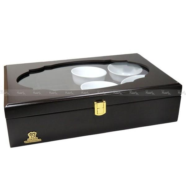 جعبه پذیرایی و دمنوش چوبی لوکس باکس کد LB104B-تصویر اصلی