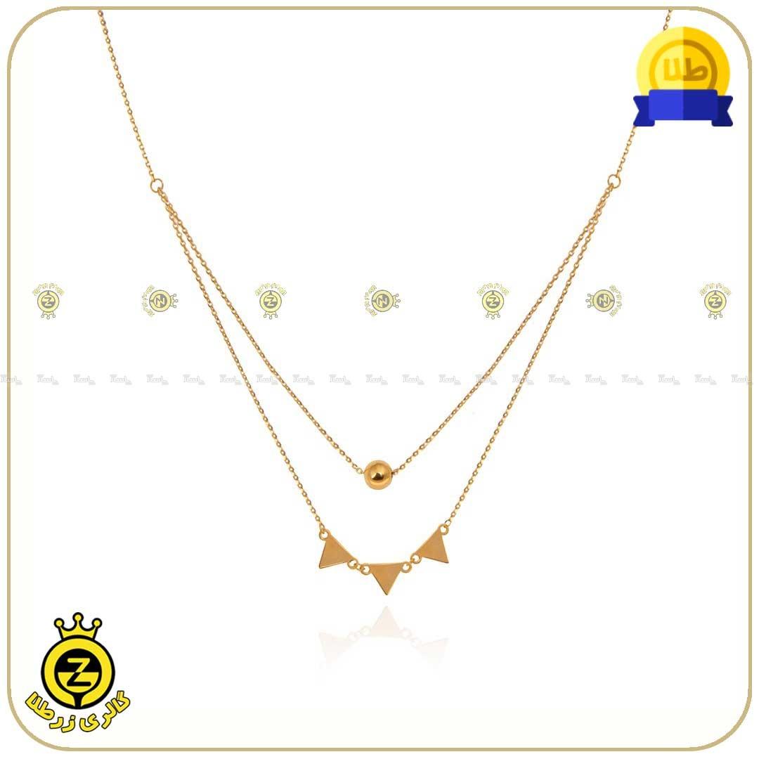 گردنبند طلا طرح هندسی دولایه مثلث و گوی-تصویر اصلی