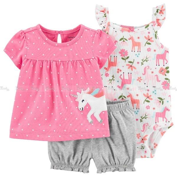 ست 3 تکه لباس نوزادی دخترانه کارترز طرح اسب تک شاخ-تصویر اصلی