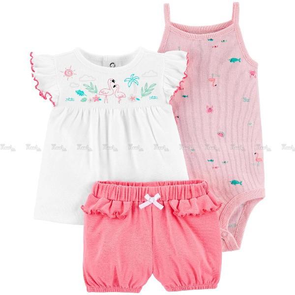 ست 3 تکه لباس نوزادی دخترانه کارترز طرح فلامینگو-تصویر اصلی