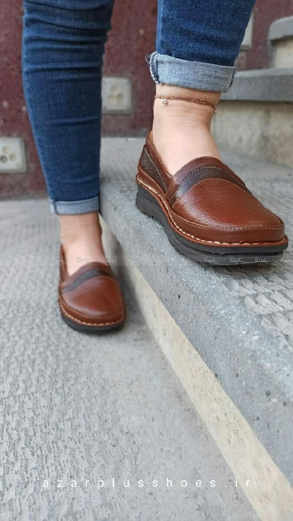 کفش تخت مدل آنیل قهوه ای-تصویر اصلی