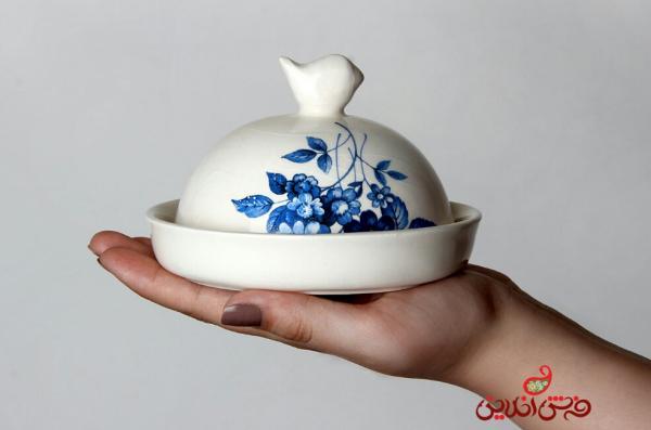 ظرف کره و پنیر آبی گل سرمه ای-تصویر اصلی