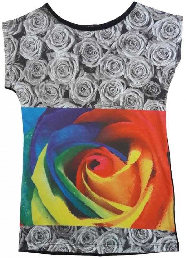 تیشرت تمام چاپ طرح گل رز-تصویر اصلی