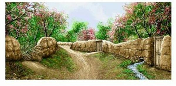 تابلوفرش دستبافت طرح کوچه باغ-تصویر اصلی