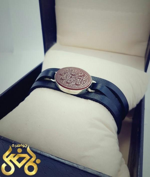دستبند چرم اصل با قاب نقره-تصویر اصلی