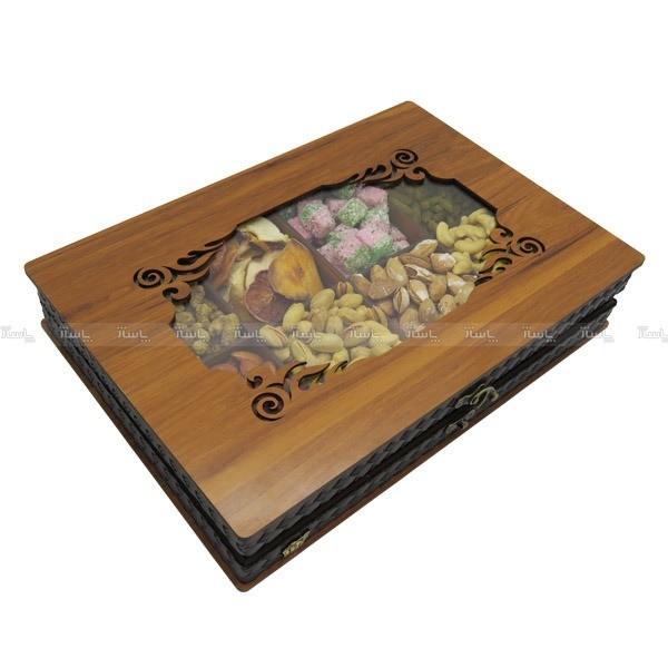 جعبه آجیل و خشکبار جعبه پذیرایی جعبه چوبی مدل چرم کد LB045-تصویر اصلی
