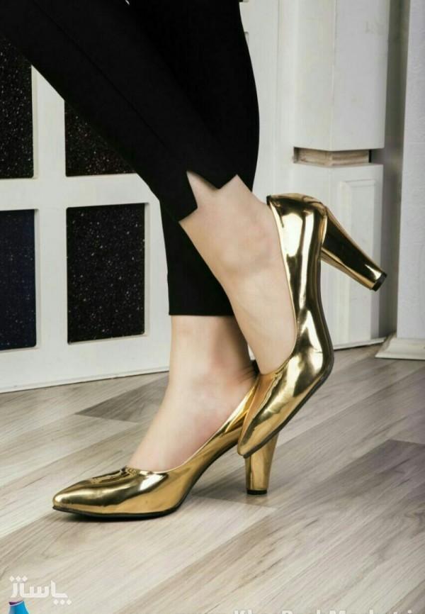 کفش ورنی طلایی پاشنه بلند-تصویر اصلی