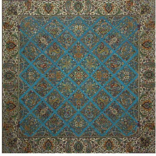 ترمه طرح سلطنتی رنگ آبی-تصویر اصلی