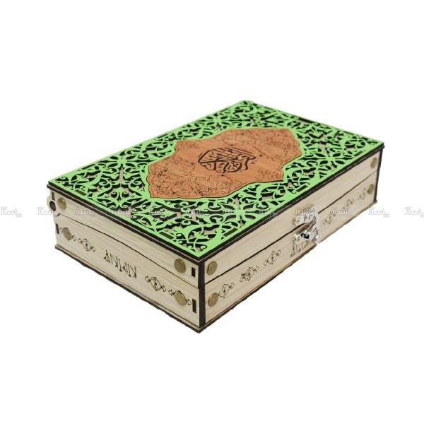 جعبه قرآن سبز کوچک ساتن دار-تصویر اصلی