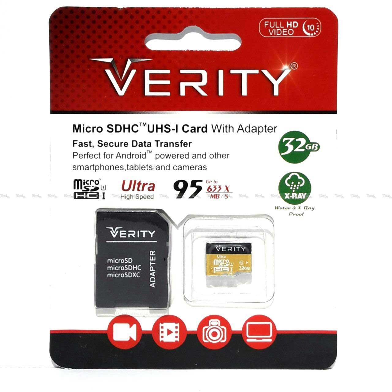 کارت حافظه microSDHC وریتی کلاس 10 استاندارد UHS-I U1 سرعت 95MBps ظرفیت 32 گیگابایت به همراه آداپتور SD-تصویر اصلی
