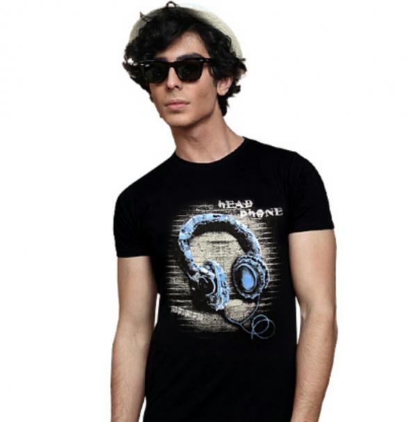 تی شرت مردانه طرح هدفون (مشکی)-تصویر اصلی