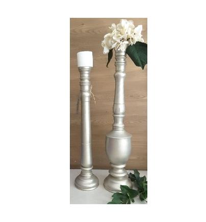 ست دوتایی گلدان و شمعدان چوبی-تصویر اصلی