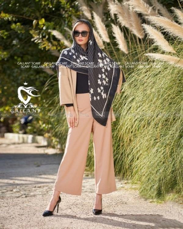 روسری نخی کشمیر دور دست دوز-تصویر اصلی