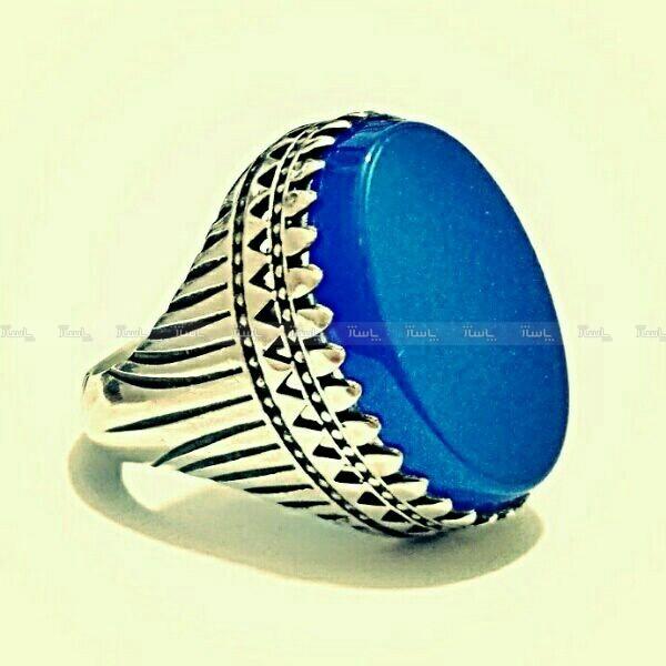 انگشتر فاخر عقیق آبی بسیار خوشرنگ و فوق العاده-تصویر اصلی