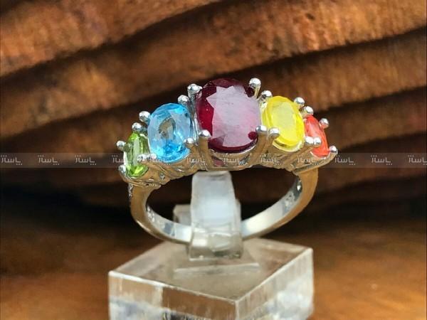 انگشتر پنج نگینه سنگ اصلی جواهری-تصویر اصلی