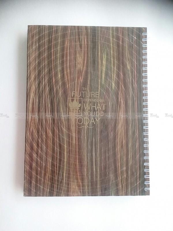 دفتر سیمی ۱۰۰ برگ جلد سخت طرح چوب-تصویر اصلی