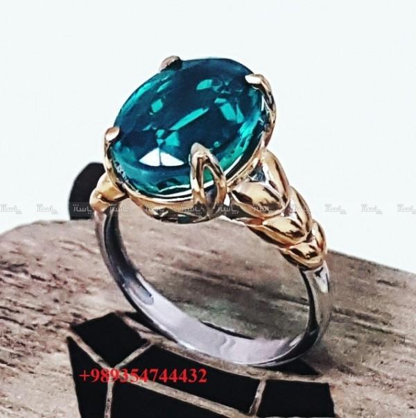 انگشتر زنانه با سنگ تریپلیت سبز-تصویر اصلی