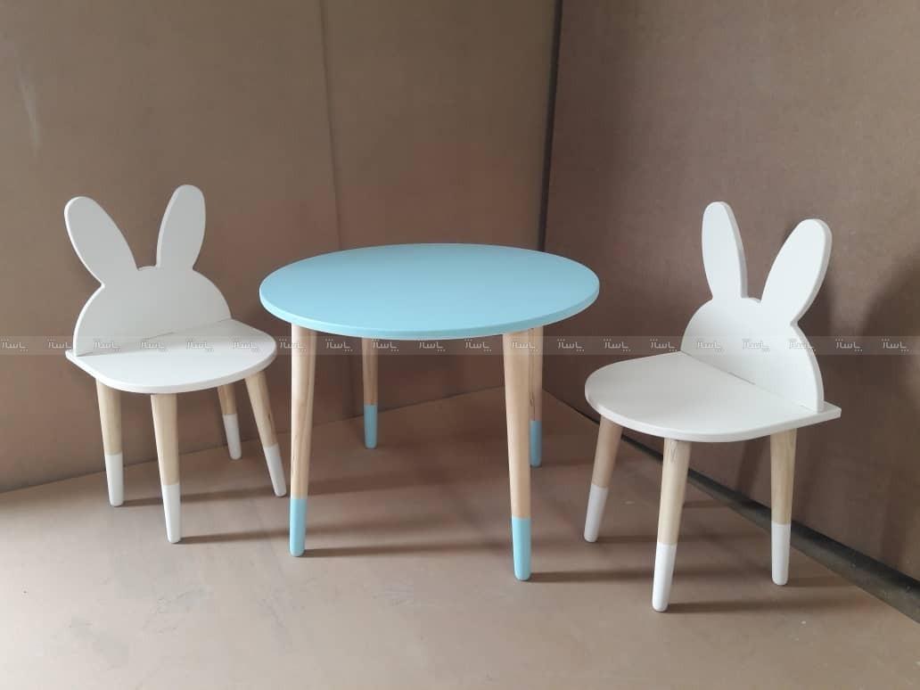 صندلی خرگوشی و میز دایره آبی-تصویر اصلی