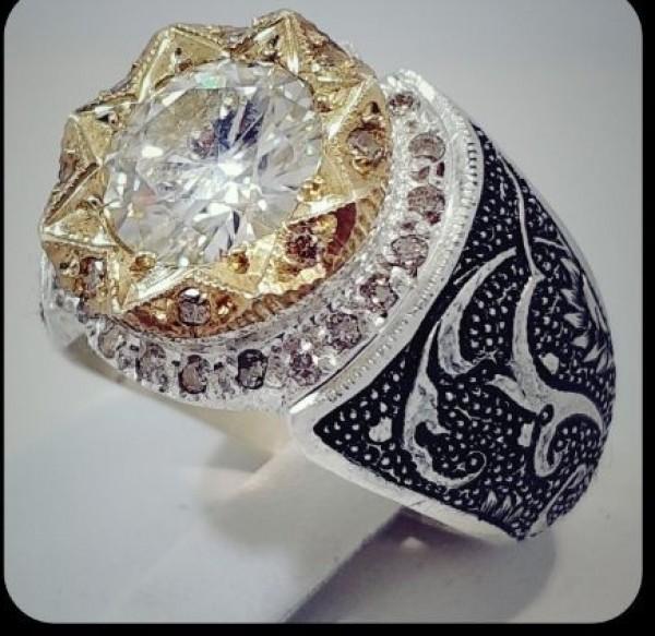 نگین موزینایت اصل(الماس روسی) سفید و پاک رکاب نقره-تصویر اصلی