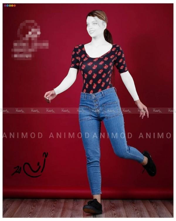 شلوار جین زنانه جیب مربع-تصویر اصلی