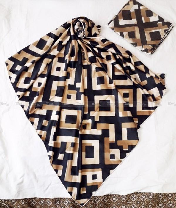 روسری ساتن اعلا طرح مکعب رنگی-تصویر اصلی