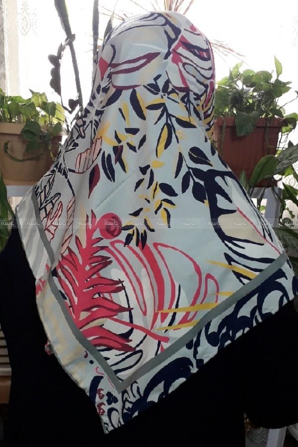 روسری ساتن طرح دار سرخس-تصویر اصلی