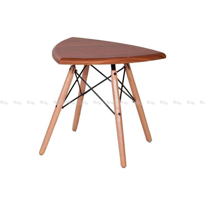 میز عسلی مثلث با پایه ایفلی چوبی استیل هامون-تصویر اصلی