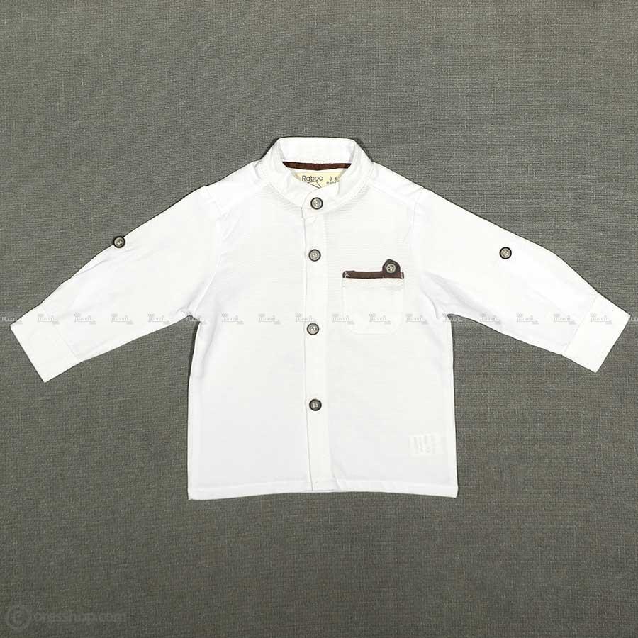پیراهن پسرانه یقه ایستاده پارچه جودون سفید-تصویر اصلی