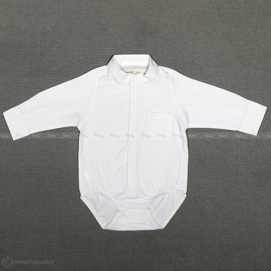 پیراهن زیردکمه پسرانه یقه ایستاده شیری-تصویر اصلی