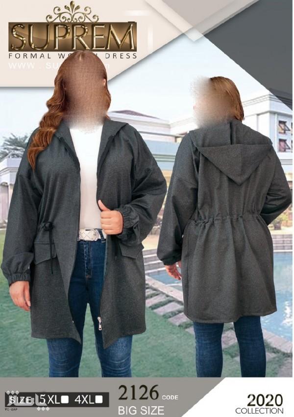 سوییشرت مانتویی زیپی کلاه دار سایز بزرگ-تصویر اصلی