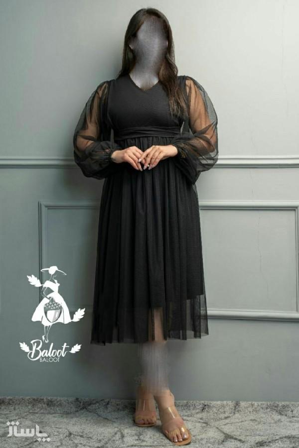 پیراهن شب زنانه کرپ لعبا مدل نیکناز-تصویر اصلی