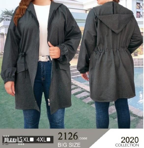 سوییشرت مانتویی جلو زیپ کلاه دار بیگ سایز (جیب نما)-تصویر اصلی