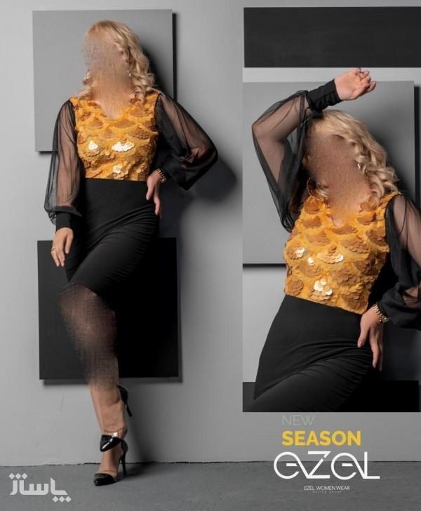 پیراهن مهمانی زنانه کرپ مدل گلاراتونیک ایزل-تصویر اصلی