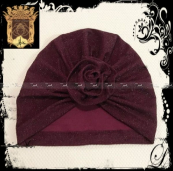 کلاه توربان مخمل جلو گلدار-تصویر اصلی
