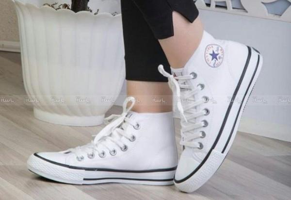 کفش دخترانه آل استار سفید ساق بلند-تصویر اصلی