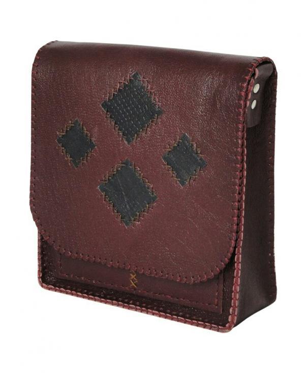 کیف دوشی دست دوز چرم طبیعی برند گل مریم-تصویر اصلی