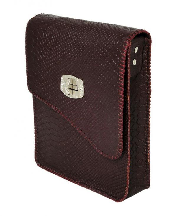کیف دوشی پوست ماری دست دوز چرم طبیعی برند گل مریم-تصویر اصلی