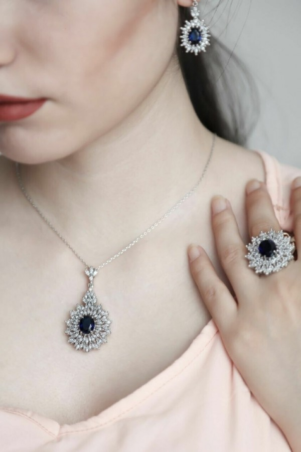نیم ست جواهری نقره-تصویر اصلی